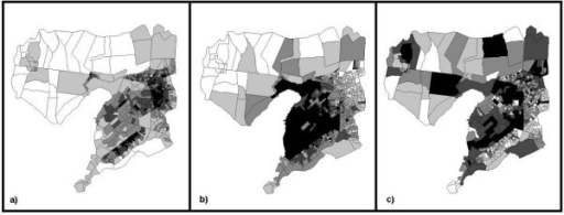 Spatial distribution of principal component factors for urbanization-related variables. a) Factor 1: Agriculture/Vegetation; b) Factor 2: Infrastructure; c) Factor 3: Wealth.