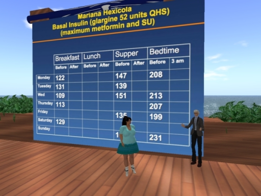 Dr. Elliot Sternthal, diabetes specialist, reviews lab results with fictional diabetic patient, Mariana Hexicola
