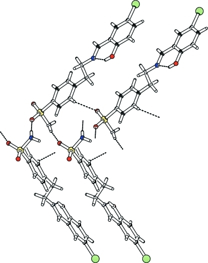 The partial packing (PLATON; Spek, 2009) which shows that molecules form polymeric chains.