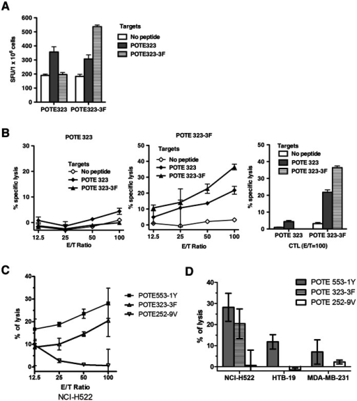 Immunogenicity of the wild-type and enhanced POTE323 epitopes and anti-tumor cytotoxicity induced by enhanced epitopes.AAD mice were immunized s.c. with 50 nmol of peptide in 100 µl of emulsion as described in the Methods section. (A) Direct ex vivo IFN-γ ELISPOT assay using target cells pulsed with 1000 nM peptide. Figures show numbers of spots per million cells. (B) CTL cross-reactivity on POTE 323 and POTE 323-3F peptides. (C) Anti-tumor cytotoxicity against a POTE-expressing human lung cancer cell line NCI-H522 induced by POTE 553-1Y, 323-3F and 252-9V. HHD-2 mice were immunized with 50 nmol of the peptide indicated in 100 µl of emulsion and restimulated for 7 days with 1000 nM peptide before being tested for ability to lyse the tumor cells. (D) Summary of the anti-tumor cytotoxicity in POTE-expressing and non-POTE-expressing human tumor cells. NCI-H522 is a human lung cancer line expressing both POTE and HLA-A2, whereas HTB-19 is a human mammary carcinoma that expresses POTE but not HLA-A2, and MDA-MB-231 is a human mammary carcinoma cell line expressing HLA-A2 but not POTE. Killing of only the first of these shows the specificity for POTE in combination with HLA-A2. (Negative values are due to experimental 51Cr release slightly below spontaneous release with no effector cells, within experimental error, and so should be viewed as equivalent to zero).