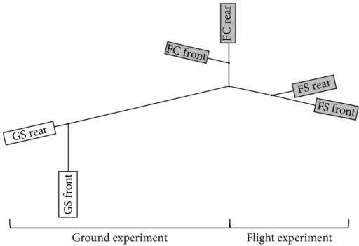 Hierarchical clustering by means of the neighbour joining method of generated sample groups (white: ground experiment; GS: ground static; grey: flight experiment; FS: flight space; FC: in-flight centrifugation). Each EUE consisted of two culture chambers (front and rear chambers, illustrated by boxes).