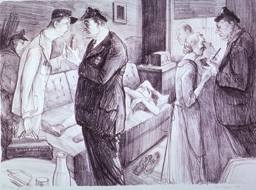 <p>The body of a dead woman is lying on a sofa; a physician from the Flower and Fifth Avenue Hospital confers with a police officer holding a bottle, as another officer questions a woman.</p>