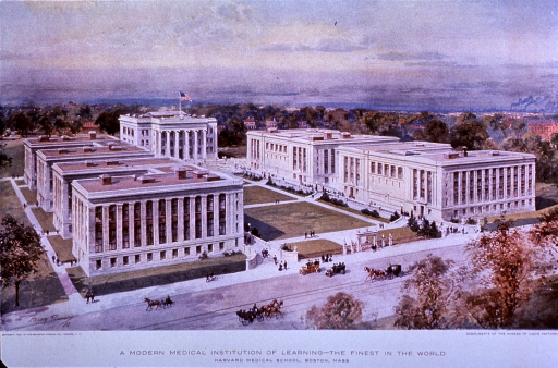 <p>Exterior view: reproduction of a watercolor panoramic view of the Harvard Medical School; horse drawn carriages and automobiles are on the street; the town and trees are in the background.</p>