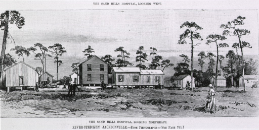 <p>The Sand Hills Hospital (Jacksonville, Fla.), looking Northeast [during yellow fever epidemic].</p>