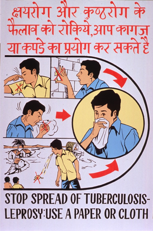 <p>Predominantly white poster with red and black lettering.  Text in a Devanagari script (Hindi?) at top of poster.  Visual images are illustrations of a man blowing his nose, wiping snot on a wall, coughing, and spitting.  Each illustration features a red &quot;x&quot; over the offending substance.  A larger illustration features a man with a handkerchief over his mouth and nose.  English title at bottom of poster.</p>
