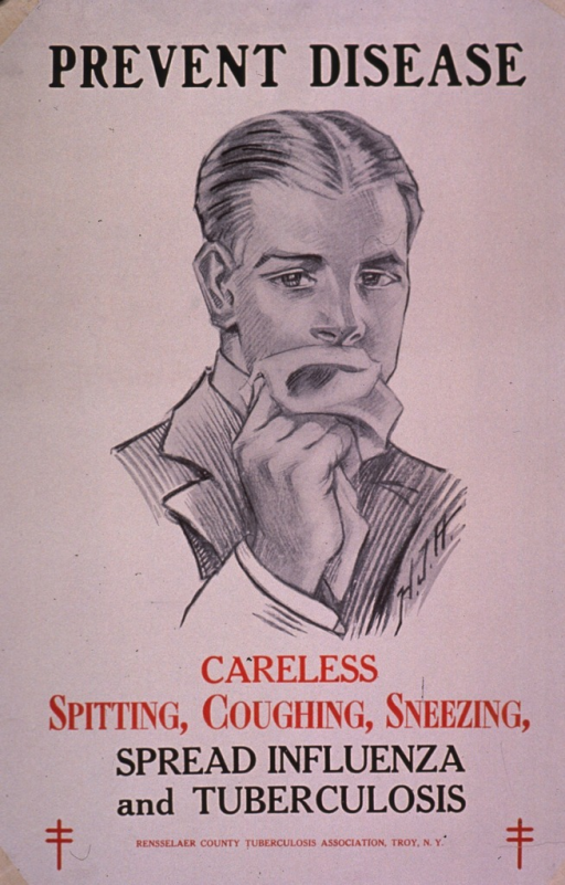 <p>Predominantly white poster with black and red lettering.  Title at top of poster.  Visual image is an illustration of a man holding a handkerchief over his mouth.  Caption and publisher information below illustration.</p>