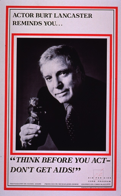 <p>White poster with red framing effect. The visual is a portrait of Burt Lancaster in a suit and tie, holding a rose.</p>
