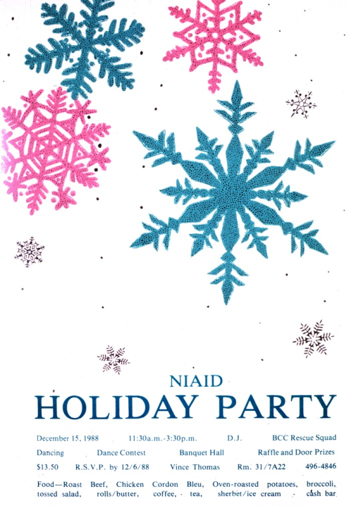 <p>The poster is white with light green, pink, and silver snowflakes.  The date (Dec. 15, 1988), time, location, activities, food to be served, and contact phone number are also listed.</p>