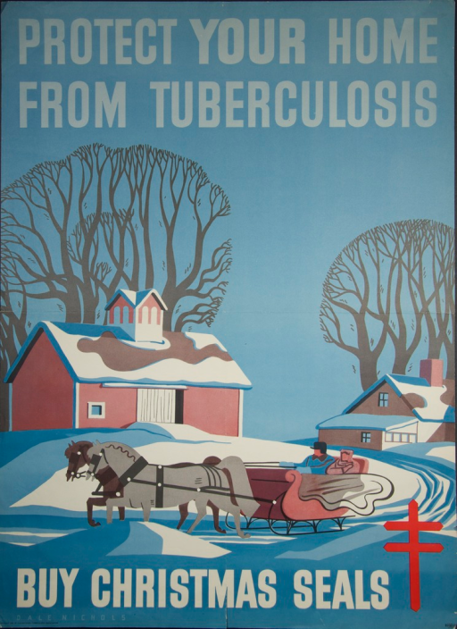 <p>Predominantly blue poster with light blue and white lettering.  Initial title phrase at top of poster.  Visual image is an illustration of a winter scene with a horse-drawn sleigh.  Remaining title phrase at bottom of poster, along with a double-barred cross, artist's name, and publisher information.</p>