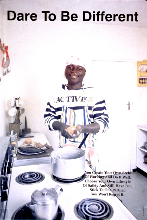 <p>Multicolor poster with black lettering.  Title at top of poster.  Visual image is a reproduction of a color photo showing a young man in a kitchen.  He wears an apron and stands in front of a stove as he slices a vegetable.  Caption in lower right corner.  Publisher and sponsor information in lower left corner.</p>