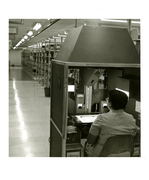 <p>The mobile camera is operated in the stacks by Mary Durrett.</p>