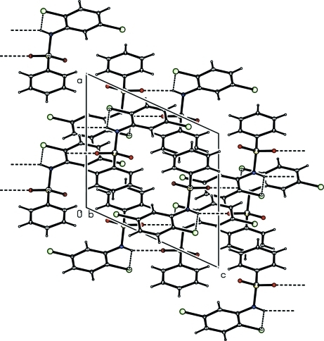 Molecular packing of (I) with hydrogen bonding shown as dashed lines.