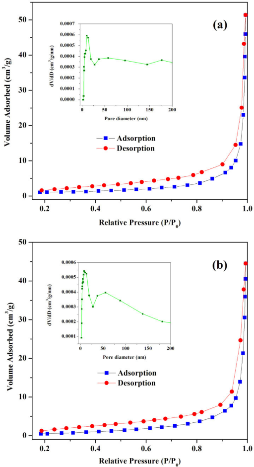 Nitrogen adsorption–desorption isotherms of (a) C1-MB and (b) C1-AF.