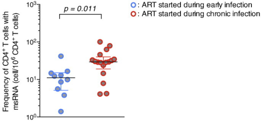 Initiation of ART during early HIV infection leads to a restricted size of the reservoir measured by TILDA. The frequency of cells harbouring inducible msRNA was measured by TILDA on CD4 + T cells obtained from subjects who started ART during chronic (n = 17, red circles) or recent (n = 10, blue circles) infection. Horizontal bars indicate median values. P value was obtained from the Mann–Whitney test.