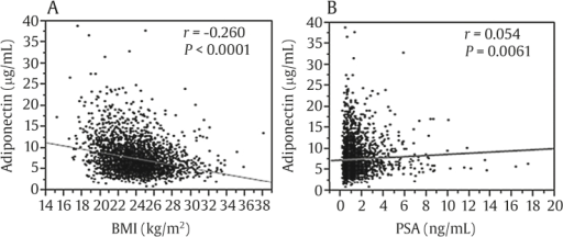 Graphs showing the adiponectin (APN) level was negatively correlated with body mass index (BMI) but positively correlated with prostate-specific antigen (PSA) levels. (A) Correlations between APN level and BMI. (B) Correlations between APN levels and PSA levels among all participants (n = 2,939).