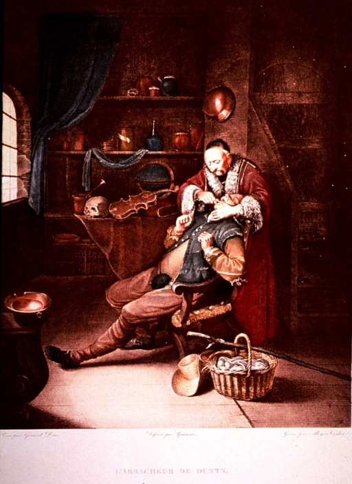 <p>Interior scene: A patient is sitting in a chair, his hat, basket and walking stick are on the floor next to him; the dentist is working methodically on the man's teeth.</p>