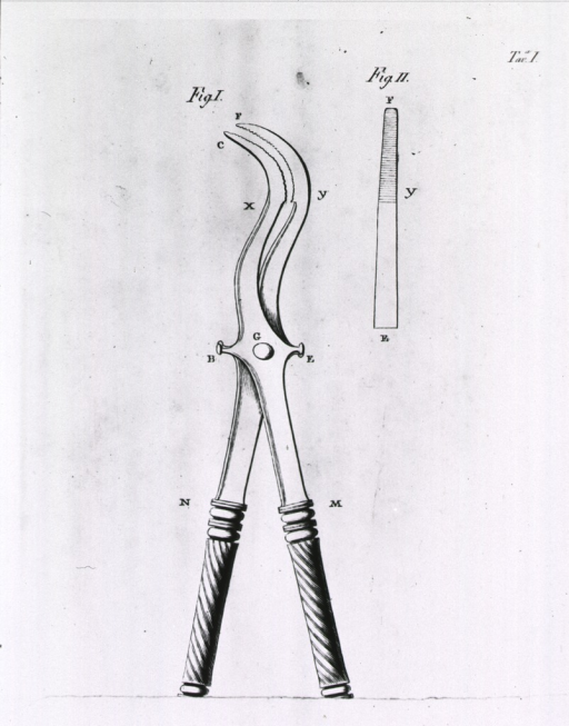 <p>Profile view of curved forceps with pliers-like jaw; separate view of 'teeth' on the blade of the jaw.</p>