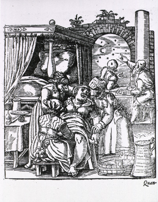 <p>Two midwives comfort a woman sitting in a birthing chair while a third midwife delivers the baby; in the background two men are consulting astrological charts and the stars.</p>