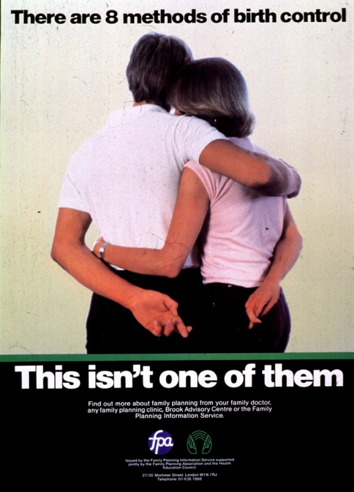 <p>Multicolor poster with black and white lettering.  Initial title words at top of poster.  Visual image is a reproduction of a color photo, taken from behind, of a man and woman standing side by side.  They each have one arm wrapped around the other person and one arm held behind their backs, with fingers crossed.  Remaining title words below photo, caption below title words.  Publisher and sponsor information, plus sponsors' logos, near bottom of poster.</p>