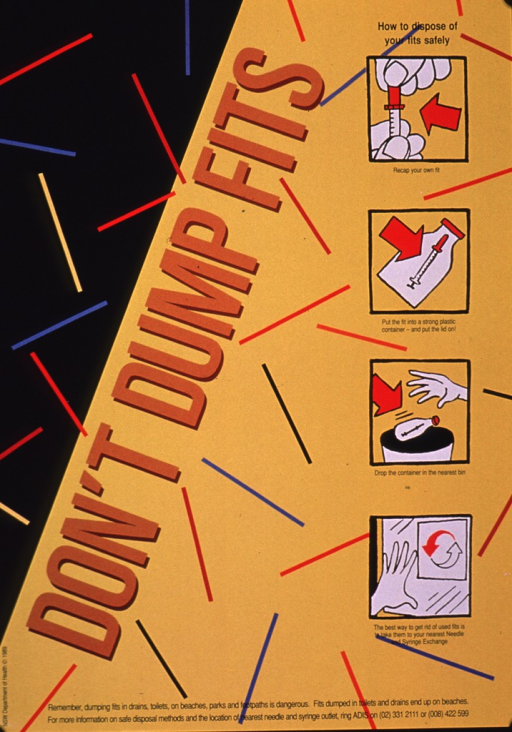 <p>Predominantly yellow and black poster with brown and black lettering.  Title near center of poster.  Title word &quot;fits&quot; is Australian slang for needle or syringe in the context of drug use.  Text almost has a vertical orientation.  Visual images include a random design of colored bars and a series of illustrations depicting the steps for safe needle disposal including recapping the needle, placing it in strong container that can be sealed, and putting the container in a trash can.  Using a needle exchange is recommended as the safest action.  Caption at bottom of poster.  Publisher information on left edge.</p>