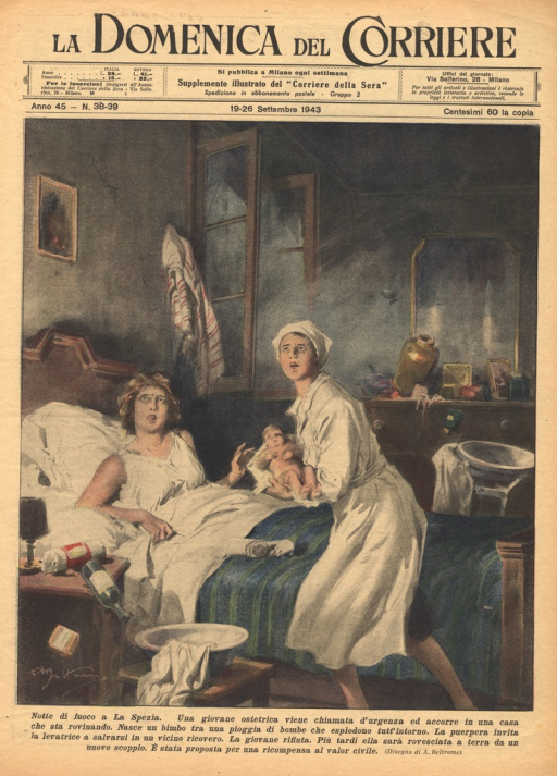 <p>A female obstetrician holds a newborn baby in her arms and looks up in horror over the bed of the mother.  The mother sits up and looks up in horror in the same direction.  A bottle is shown toppling over a nightstand next to the bed, and the windows behind the bed are blown open in the explosion.</p>