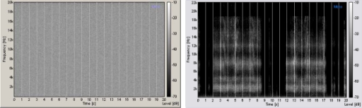 Auditory stimuli representation.Frequency-time representation of auditory noise (left) and the 3D sound (right).