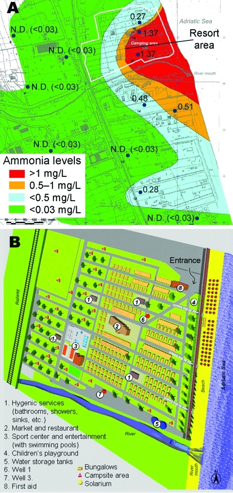 A) Geographic distribution of ammonia residues, central Italy, 2003. Large dots indicate location of wells tested. N.D., not detectable. B) Map of resort area, showing areas of water storage and use.