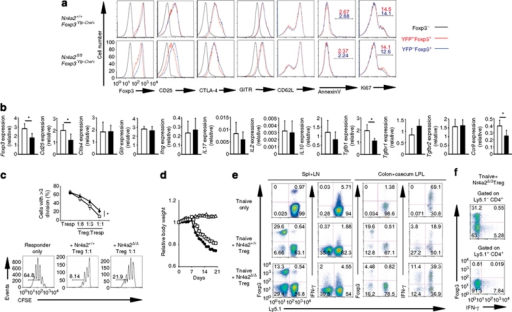 Attenuated in vitro and in vivo suppressive activity of Nr4a2-deficient Tregs.(a) FACS analysis of the indicated protein levels in YFP+Foxp3+ and YFP–Foxp3+ Tregs of Nr4a2+/+Foxp3Yfp-Cre/+ or Nr4a2fl/flFoxp3Yfp-Cre/+ mice. For Foxp3, CD25, CTLA-4 and GITR expression levels in non-Treg cells are represented by black lines, as a negative value. Data are representative of three independent experiments (means of duplicate are shown for the positive fractions of Annexin V and Ki67 staining). (b) Comparison of mRNA levels between Tregs in Nr4a2+/+Foxp3Yfp-Cre and Nr4a2fl/flFoxp3Yfp-Cre mice. Expression levels of the indicated mRNA, are presented relative to Hprt expression. Open bars: Nr4a2+/+Foxp3Yfp-Cre Tregs; closed bars: Nr4a2fl/flFoxp3Yfp-Cre Tregs. (c) Top: in vitro suppression assay with CFSE-labeled wild-type CD4+CD25– cells as responders and CD4+CD25+YFP+ Tregs from Nr4a2+/+Foxp3Yfp-Cre (open squares) or Nr4a2fl/flFoxp3Yfp-Cre (closed triangles) mice as suppressors. Ratios of responder cells with more than three divisions are presented. Bottom: results in the top panel at 1:1 Treg/Tresp ratio. (d) Body weight of Rag2– mice injected with 5×105 naïve Ly5.1+CD4+ T cells alone or in combination with 3×105 CD4+CD25+YFP+Ly5.2+ Tregs from Nr4a2+/+Foxp3Yfp-Cre or Nr4a2fl/flFoxp3Yfp-Cre mice. Data are pooled from two independent experiments, with seven mice from each sample set total. The ranges of body weights (relative body weights to day 0) of each group at day 21 are Tnaive only: 0.69–0.76; Tnaive+Nr4a2+/+Foxp3Yfp-Cre Tregs: 0.96–1.08; Tnaive+Nr4a2fl/flFoxp3Yfp-Cre Tregs: 0.76–0.88. (e) Expression of Foxp3 and IFN-γ in CD4+ T cells from the spleen and lymph nodes (left panels), and from the colon and caecum lamina propria (right panels) in Rag2– recipients presented in d at day 21. (f) Frequencies of IFN-γ-expressing cells in Foxp3–CD4+ T cells and Foxp3+CD4+ T cells from the spleen and lymph nodes of Rag2– recipients presented in d at day 21. Numbers in FACS plots represent percentages of CD4+ T cells in the gated area. Data in b, c are representative of three independent experiments (mean and s.d. of triplicate). *P<0.05 (two-tailed Student's t-test).
