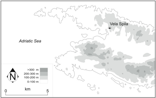 Detailed map of the western end of Korčula island, with the location of Vela Spila marked.