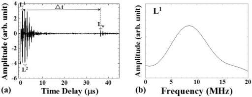 (a) Typical ultrasonic signals acquired by UT; (b) the frequency spectrum of L1 signal. The center frequency of the L1 echo was 8.51 MHz, and the 3-dB bandwidth was 8.70 MHz.