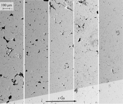 BSE-SEM image of polished embedded pellets of Li6.4Al0.2–xGaxLa3Zr2O12; from left to right, x = 0.00, 0.05, 0.10, 0.15, and 0.20.