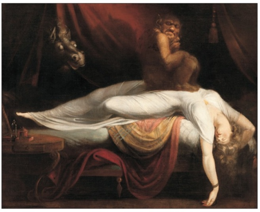 """The Nightmare"", Henry Fuseli, 1789, oil on canvas. With permission from Detroit Institute of Arts."
