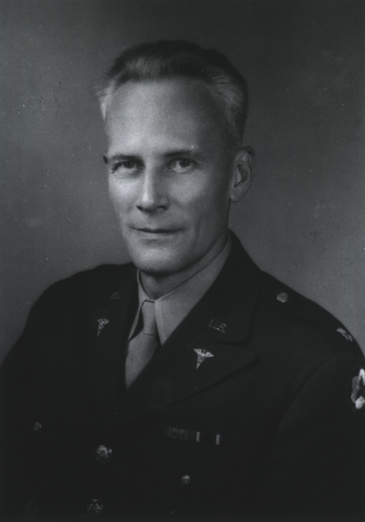 <p>Head and shoulders, full face, wearing uniform of U.S. Army Colonel with Medical Corps insignia and service ribbons.</p>