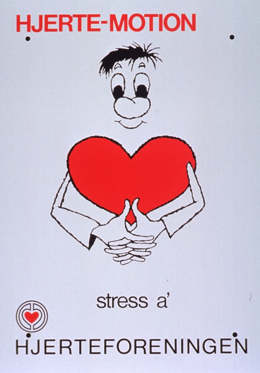 <p>White poster with red and black lettering.  Initial title words at top of poster.  Visual image is a cartoon-style illustration of a man, whose torso is a heart, with his hands clasped in front of him.  Remaining title words below illustration.  Publisher name and logo at bottom of poster.</p>