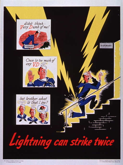 <p>Predominantly black poster with black and red lettering.  Visual image dominates poster.  Image is a series of cartoon illustrations.  Three panels, which bear the note text, depict a sailor going to the dispensary, taking a pledge, and then falling to the temptation of a woman.  A larger illustration shows the sailor returning to the dispensary as two lightning bolts strike him.  Title near bottom of poster.  Publisher information at bottom of poster.</p>