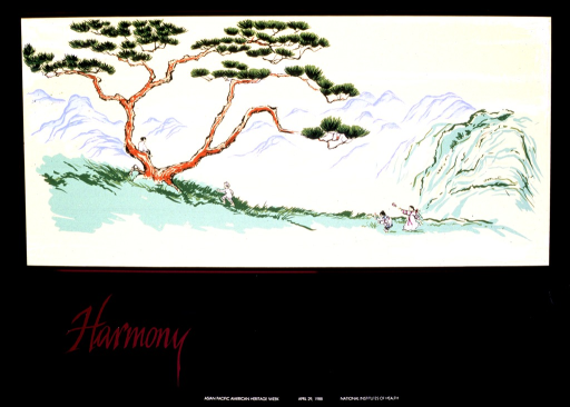 <p>The predominant image is a gnarled tree set against distant mountains.  There are four small figures of children.  One boy sits in the tree, another boy is running toward the tree.  The two girls are picking flowers and reaching toward a butterfly.  The title, a frame around the picture, and Oriental characters in the bottom right corner of the poster are metallic pink.</p>
