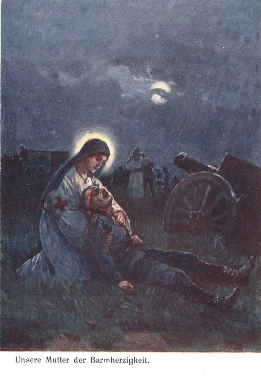 <p>Postcard featuring a color illustration of a nurse with a wounded soldier on a battlefield at night. The soldier is sitting partway up and leaning against the nurse. He has a bloody head bandage. The nurse is kneeling behind the soldier. She is dressed in white, with a dark head covering and a red cross on her right sleeve. There is a halo around her head. A cannon and a wagon can be dimly seen in the background, and the full moon is partially covered by a wisp of cloud.</p>