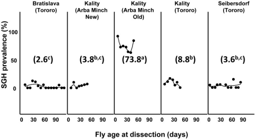 Prevalence of SGH in different tsetse colonies of G. pallidipes.The flies were randomly selected at different time points from the different colonies and dissected to determine status of the salivary glands. Numbers between brackets are the mean SGH prevalence percentage. The line is the smoothed regression.