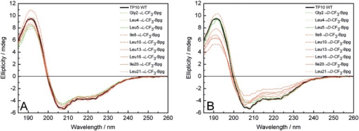 CD spectra of the CF3-Bpg labeled TP10 analogs.CD spectra are recorded in the presence of unilamellar DMPC/DMPG (3∶1) vesicles at a P/L ratio of 1∶200. (A) L-epimers and (B) D-epimers are compared with the WT peptide (black line). Analogs with CF3-Bpg in the galanin part are represented by green lines and in the mastoparan part by red lines.