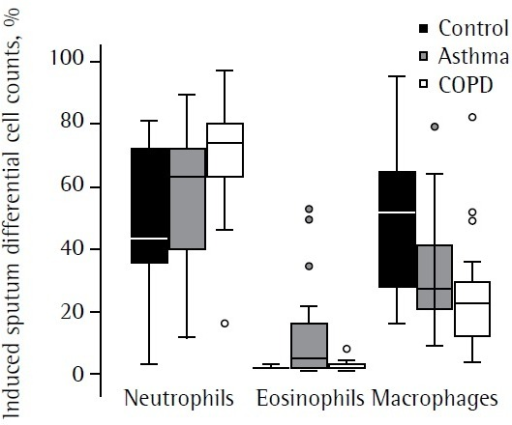Induced sputum differential cell counts in the three groupsstudied.