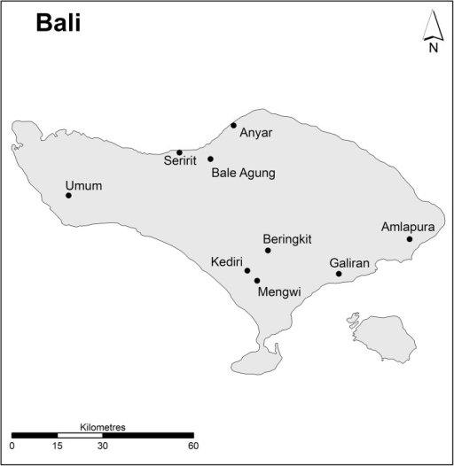 Location of markets in Bali.(Source: Charles Sturt University).