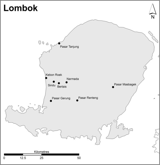 Location of markets in Lombok.(Source: Charles Sturt University).