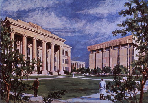 <p>Exterior view: the depicted scene of the Countway Library in relation to the administration building is a projection of the Library as it would appear if the Peter Brent Brigham Hospital is moved.</p>