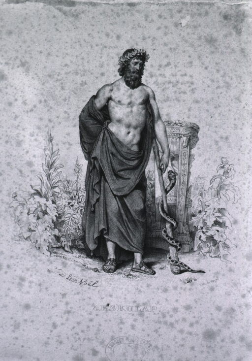 <p>Full length portrait of Aesculapius leaning on staff around which a snake is coiled.</p>