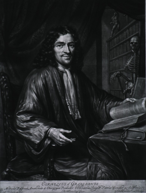 <p>Three-quarter length, seated, right pose, full face; hand on open book; skeleton and book shelves in background.</p>