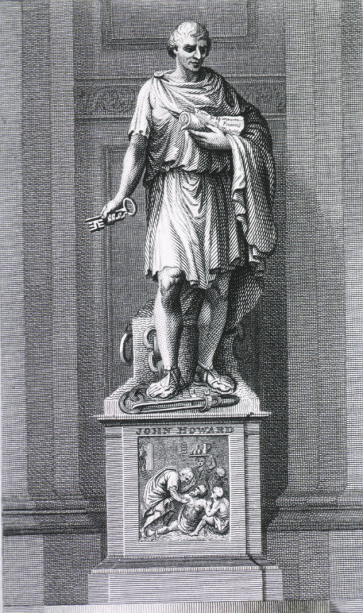 <p>Standing figure, key in right hand - scroll in other; on pedestal with medical scene.</p>