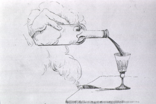 <p>A man's face is in the shape of a wine bootle. He pours wine/blood from the bottle snout/nose into a glass.</p>