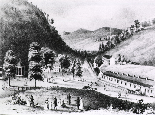 <p>Exterior view of a small community of buildings; people leisurely strolling about the grounds, and stagecoaches arriving and departing.</p>