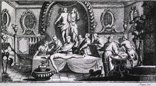 <p>Anatomy lesson with 9 workers in chamber decorated with statue of Apollo and (?) Hygeia.</p>