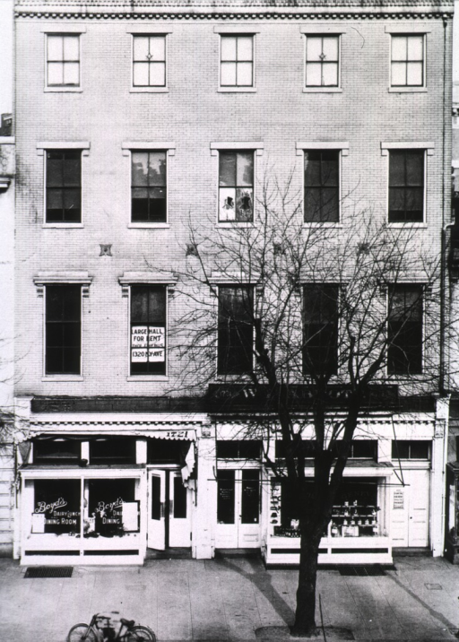 <p>Exterior view: War Department building on Pennsylvania Avenue and 17th Street, NW.  On the street level of the building is Boyd's dairy lunch and dining room.  The building's awning has the address 1721; there is a bicycle on street.</p>